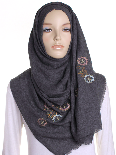 Charcoal Floral Embroidered Hijab - Hijab Store Online