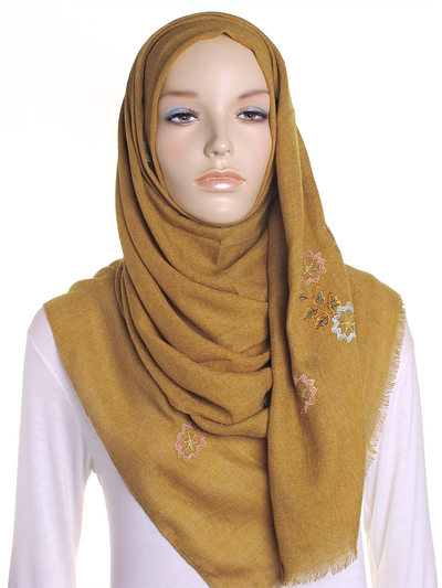 Dark Mustard Floral Embroidered Hijab - Hijab Store Online