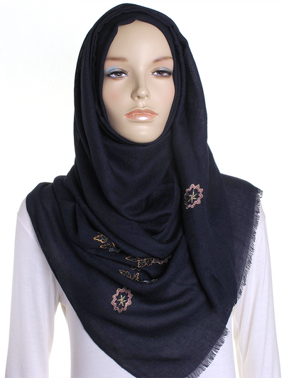 Navy Floral Embroidered Hijab - Hijab Store Online