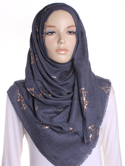 Navy Foil Branch Hijab - Hijab Store Online