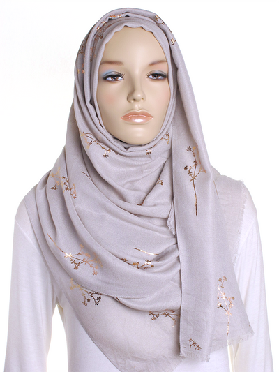 Silver Taupe Foil Branch Hijab - Hijab Store Online