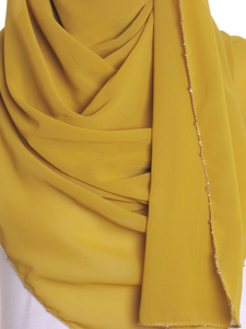 Light Olive Gold Chain Chiffon Hijab