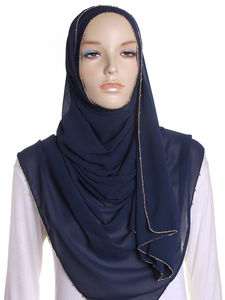 Navy Gold Chain Chiffon Hijab