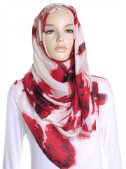 Red Floral Gold Foil Hijab