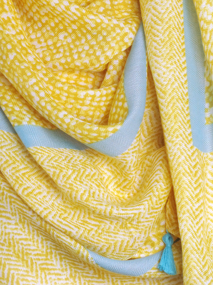 Yellow Herringbone Tassel Hijab