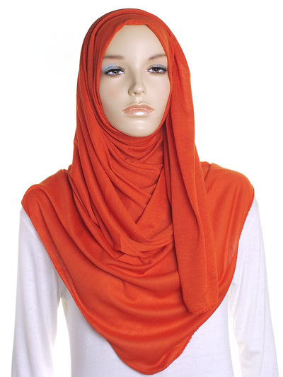 Autumn Orange Plain Jersey Hijab