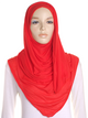 Red Plain Jersey Hijab