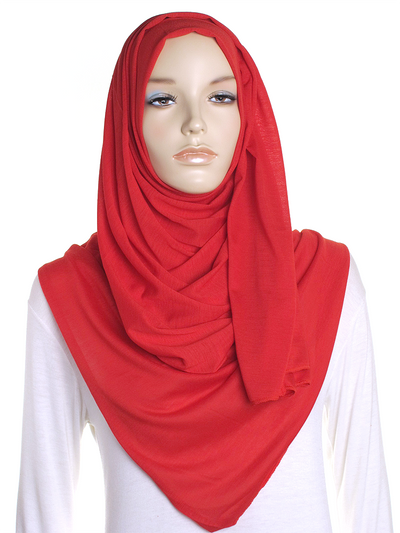 Vibrant Red Plain Jersey Hijab