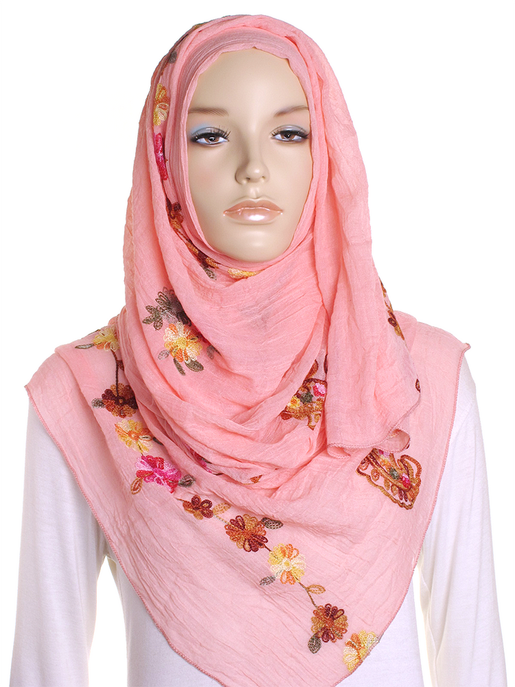 Apricot Cotton Embroidery Hijab - Hijab Store Online