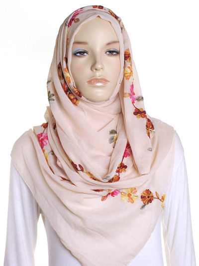 Beige Cotton Embroidery Hijab - Hijab Store Online