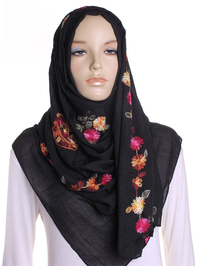 Black Cotton Embroidery Hijab - Hijab Store Online