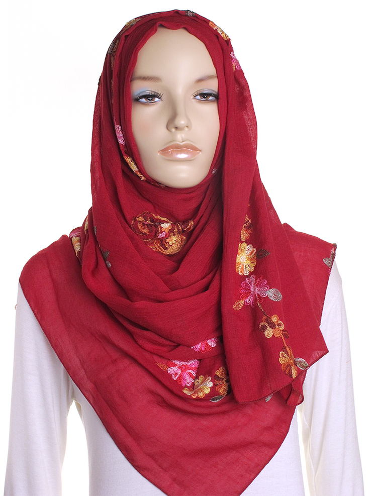 Dark Red Cotton Embroidery Hijab - Hijab Store Online