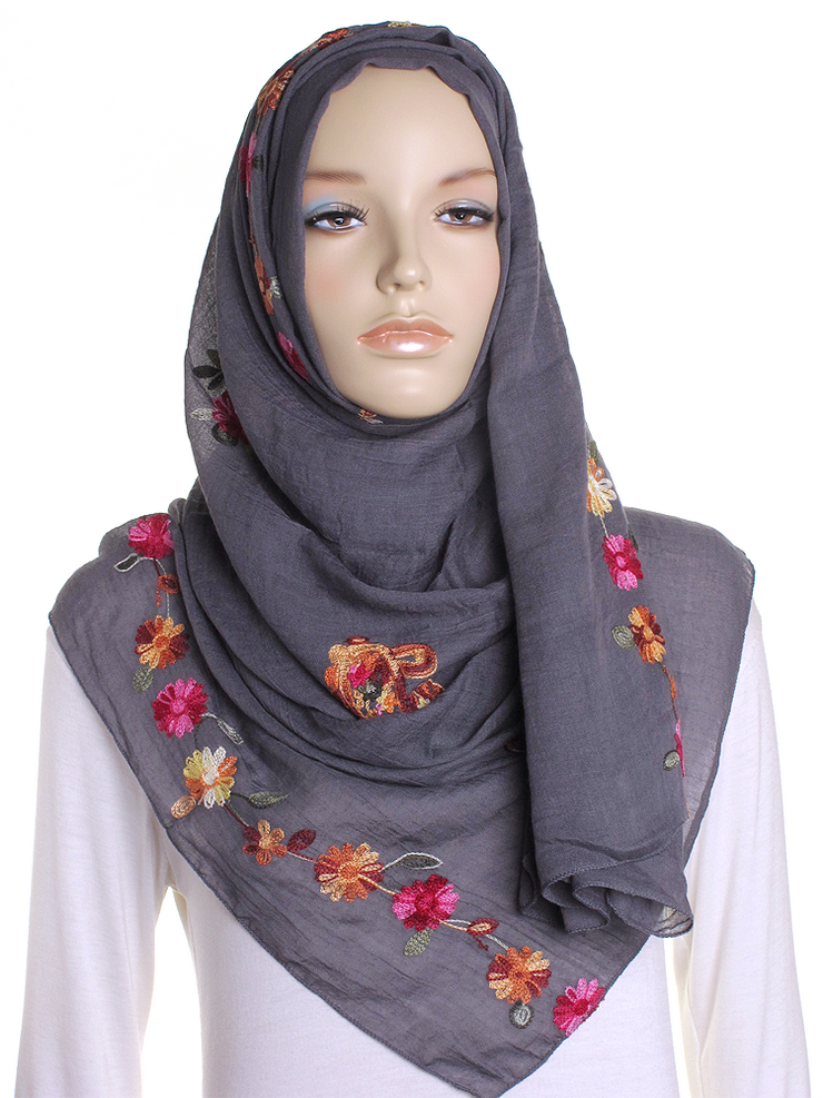 Grey Cotton Embroidery Hijab - Hijab Store Online