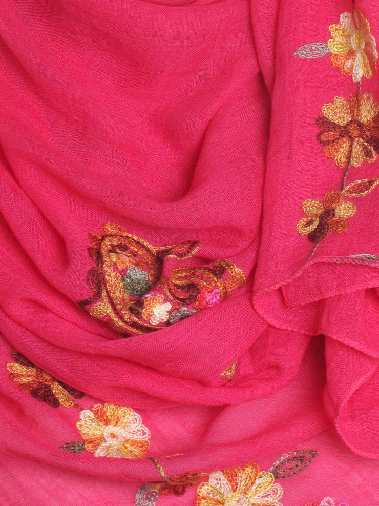 Hot Pink Cotton Embroidery Hijab - Hijab Store Online