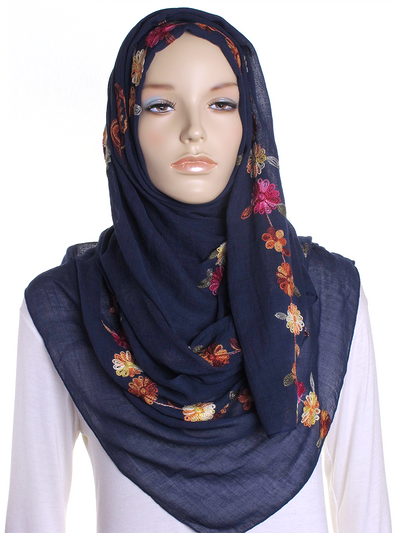 Navy Cotton Embroidery Hijab - Hijab Store Online