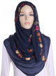Navy Cotton Embroidery Hijab