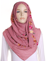 Rose Cotton Embroidery Hijab - Hijab Store Online