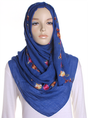 Royal Blue Cotton Embroidery Hijab - Hijab Store Online