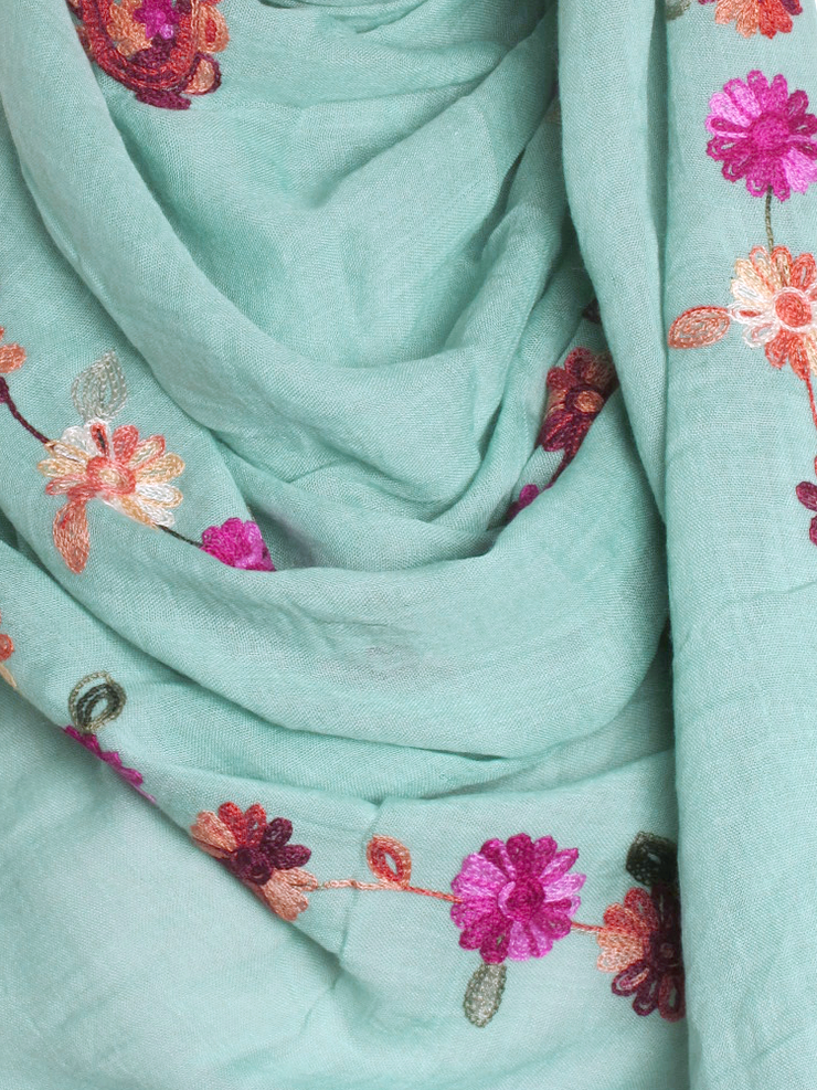 Sage Cotton Embroidery Hijab - Hijab Store Online