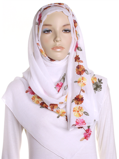 White Cotton Embroidery Hijab - Hijab Store Online