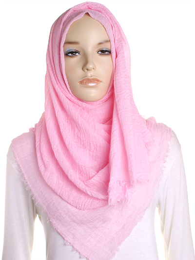 Baby Pink Plain Crinkle Maxi Hijab - Hijab Store Online
