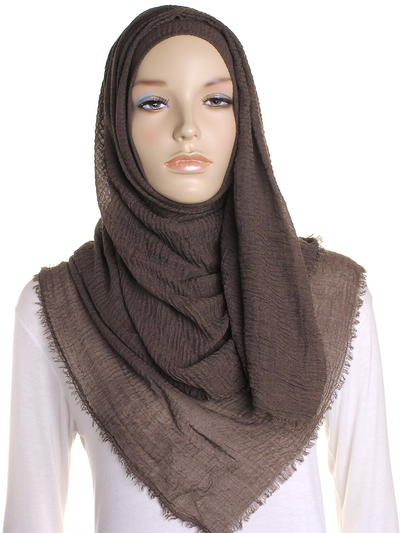 Cacao Plain Crinkle Maxi Hijab - Hijab Store Online
