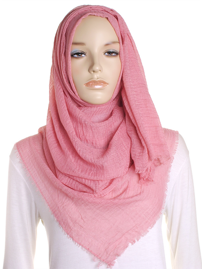 French Pink Plain Crinkle Maxi Hijab - Hijab Store Online