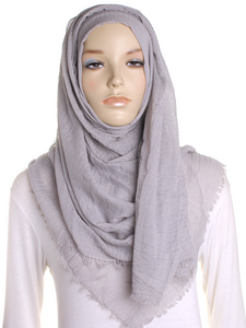 Harbor Grey Plain Crinkle Maxi Hijab