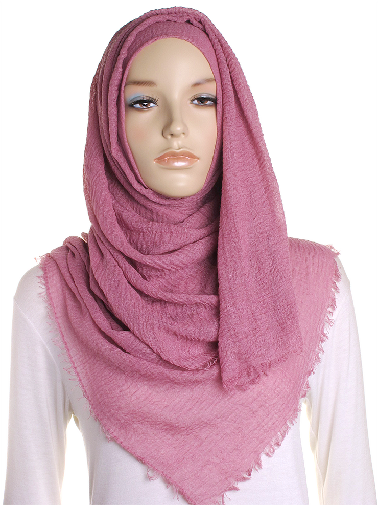 Old Rose Plain Crinkle Maxi Hijab - Hijab Store Online