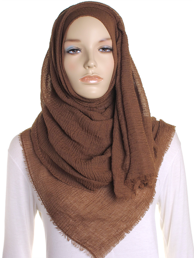Penny Brown Plain Crinkle Maxi Hijab - Hijab Store Online