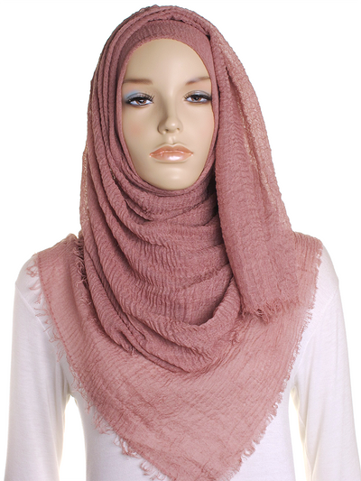 Russet Pink Plain Crinkle Maxi Hijab - Hijab Store Online