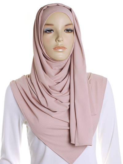 Barely Rose Ribbed Jersey Hijab