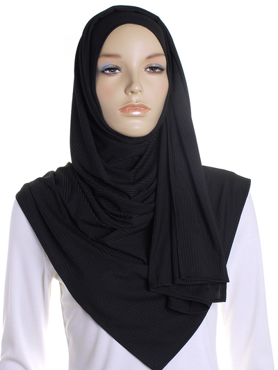 Black Ribbed Jersey Hijab