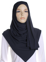 Navy Ribbed Jersey Hijab