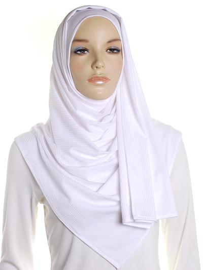 White Ribbed Jersey Hijab