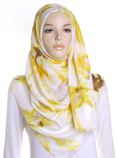 Yellow Floral Silver Foil Hijab