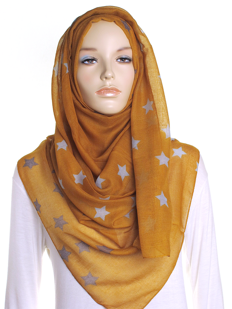 Brown Star Stripe Hijab