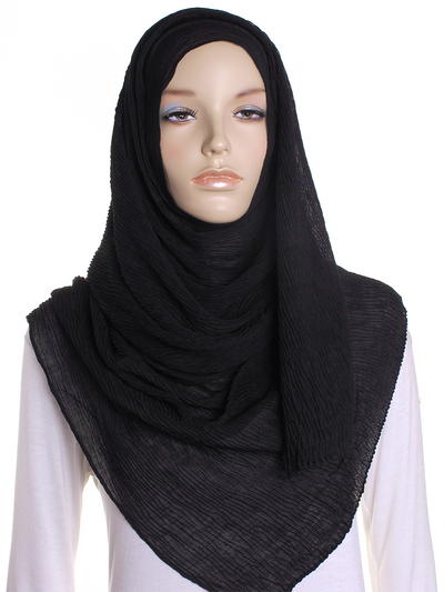 Black Straight Pleated Hijab - Hijab Store Online