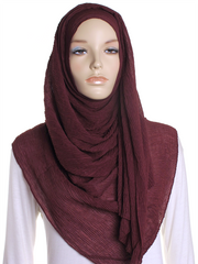 Burgundy Straight Pleated Hijab - Hijab Store Online