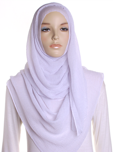 Cloud White Straight Pleated Hijab - Hijab Store Online