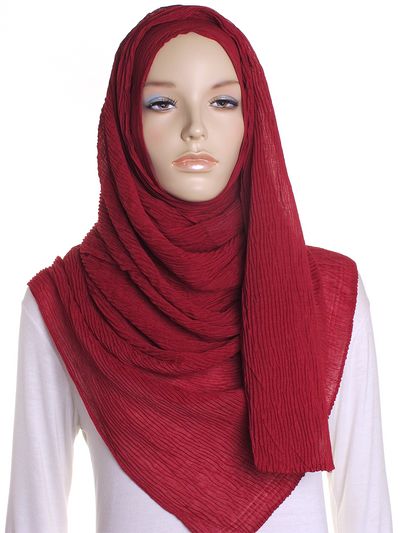 Dark Red Straight Pleated Hijab - Hijab Store Online