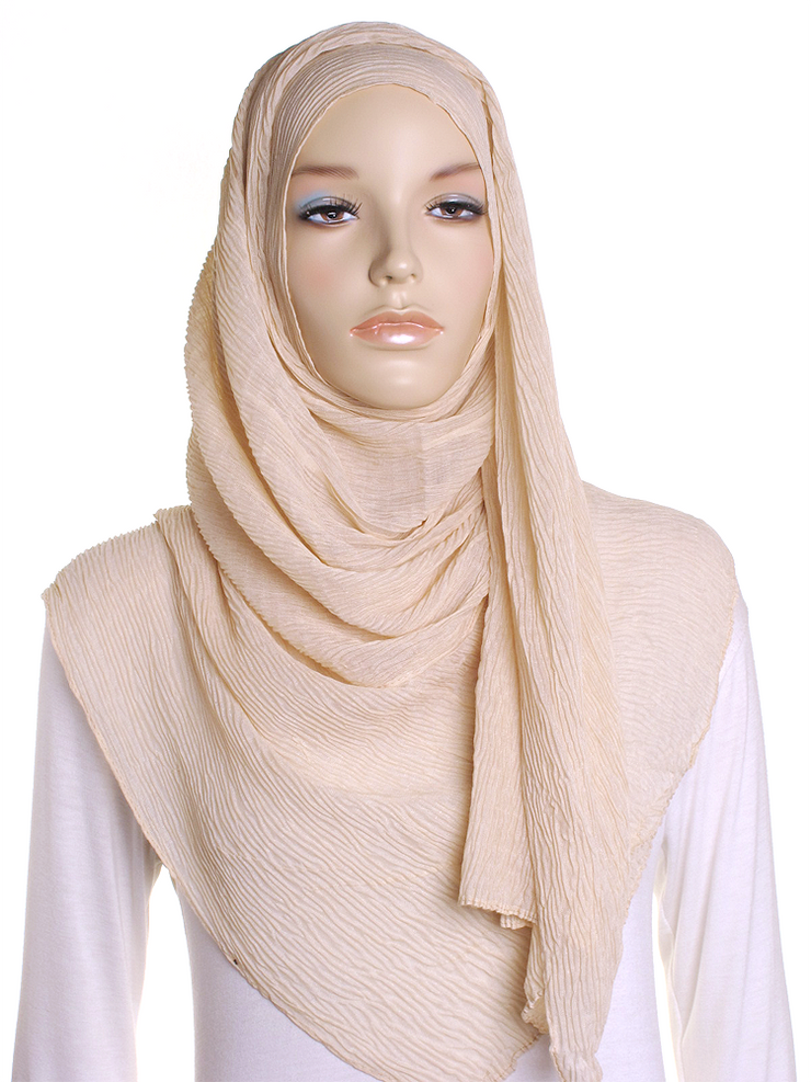 Light Fawn Straight Pleated Hijab - Hijab Store Online