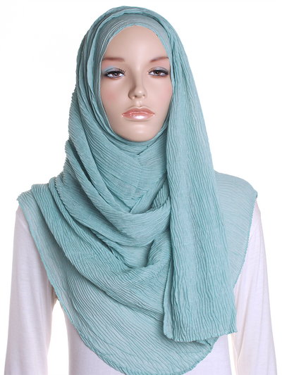 Light Teal Straight Pleated Hijab - Hijab Store Online