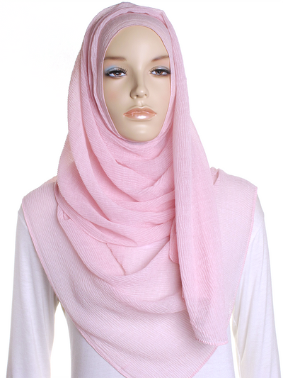 Pink Straight Pleated Hijab - Hijab Store Online