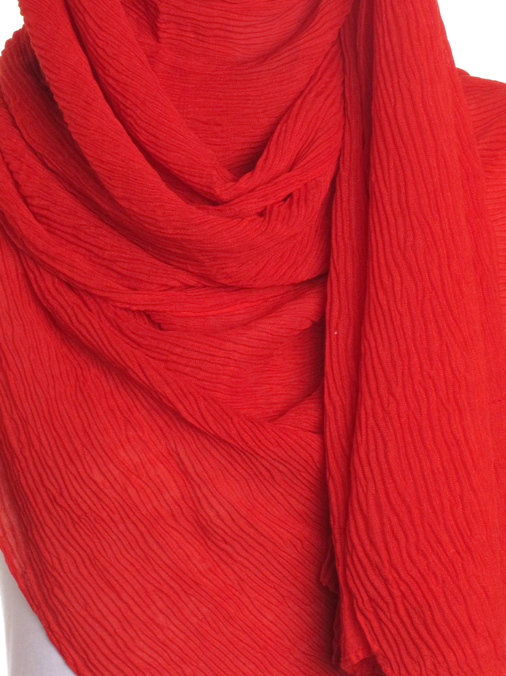 Red Straight Pleated Hijab - Hijab Store Online