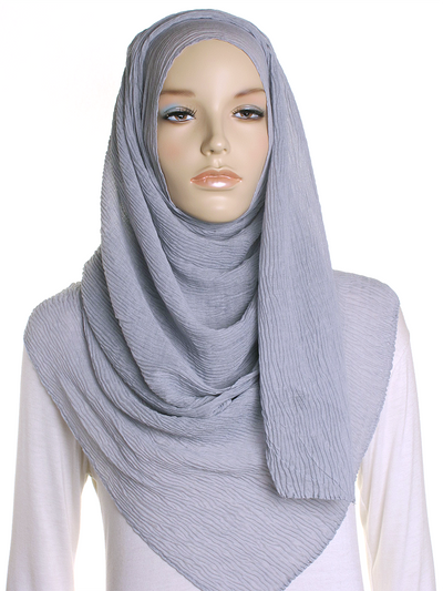 Silver Straight Pleated Hijab - Hijab Store Online