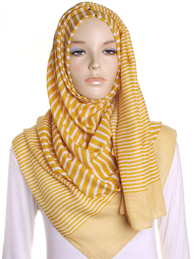 Mustard Cross Stripes Hijab - Hijab Store Online