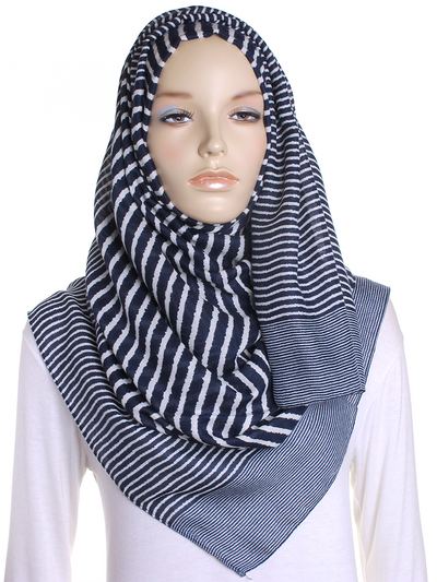 Navy Cross Stripes Hijab - Hijab Store Online