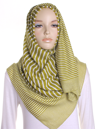 Olive Cross Stripes Hijab - Hijab Store Online