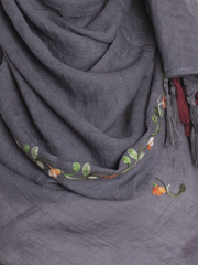 Dark Grey Cotton Tassel Hijab